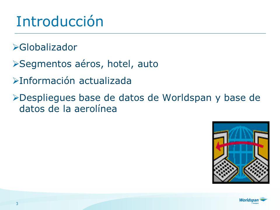 3 Introducción Globalizador Segmentos aéros, hotel, auto Información actualizada Despliegues base de datos de Worldspan y base de datos de la aerolíne