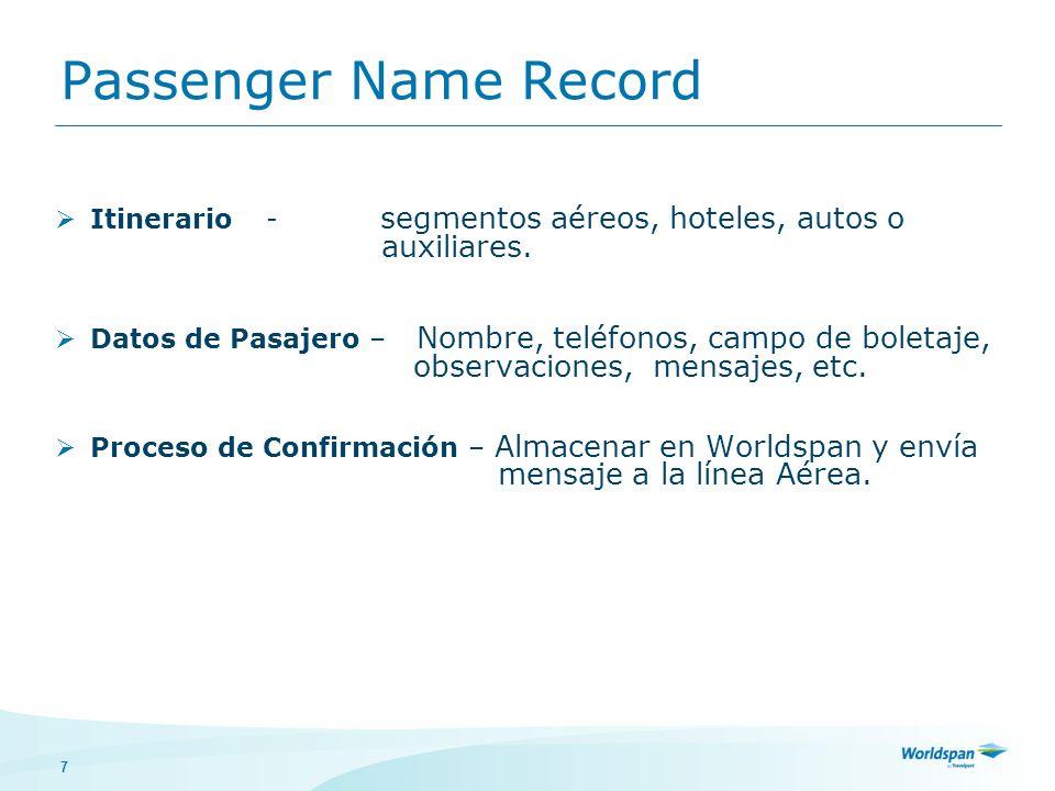 7 Passenger Name Record Itinerario - segmentos aéreos, hoteles, autos o auxiliares. Datos de Pasajero – Nombre, teléfonos, campo de boletaje, observac