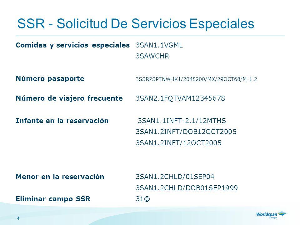 4 SSR - Solicitud De Servicios Especiales Comidas y servicios especiales3SAN1.1VGML 3SAWCHR Número pasaporte 3SSRPSPTNWHK1/2048200/MX/29OCT68/M-1.2 Nú