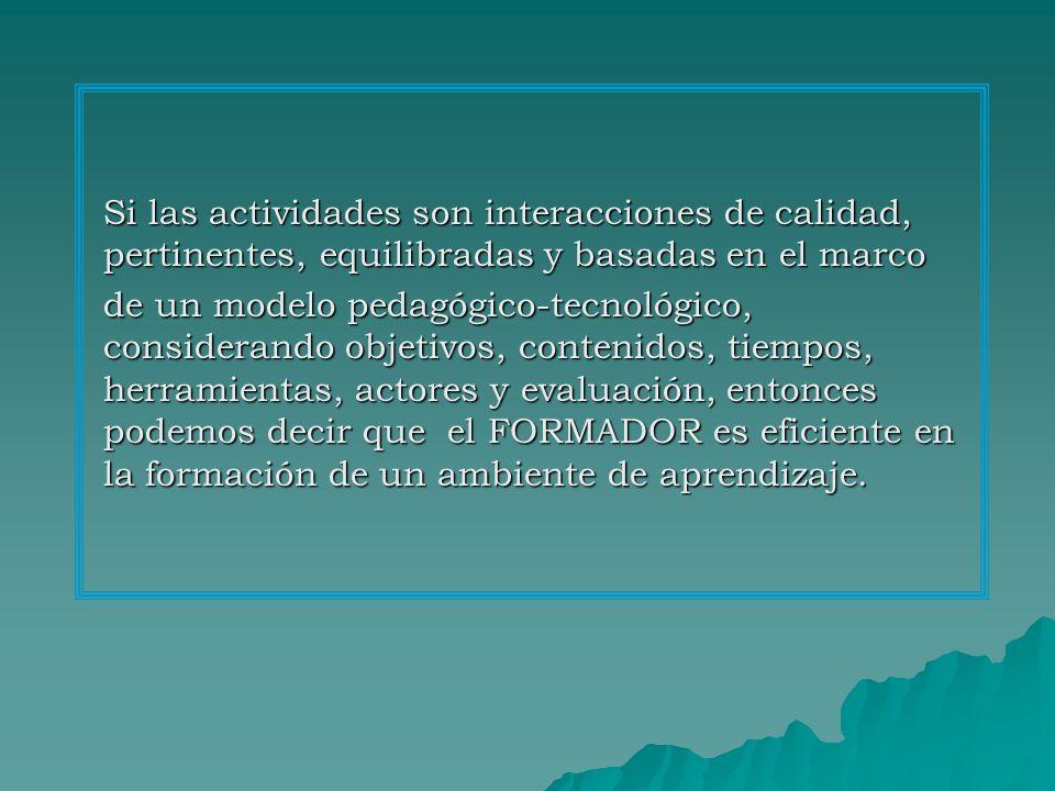 Si las actividades son interacciones de calidad, pertinentes, equilibradas y basadas en el marco de un modelo pedagógico-tecnológico, considerando objetivos, contenidos, tiempos, herramientas, actores y evaluación, entonces podemos decir que el FORMADOR es eficiente en la formación de un ambiente de aprendizaje.