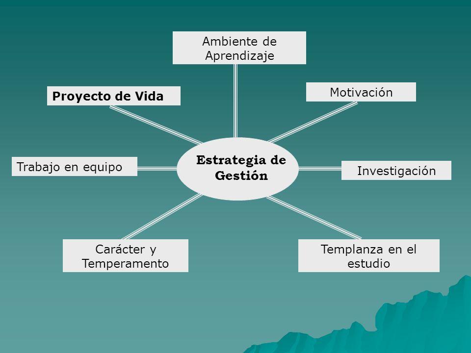 Motivación Ambiente de Aprendizaje Estrategia de Gestión Investigación Templanza en el estudio Trabajo en equipo Carácter y Temperamento Proyecto de Vida