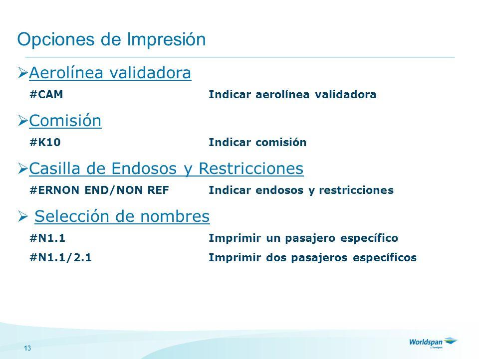 13 Opciones de Impresión Aerolínea validadora #CAMIndicar aerolínea validadora Comisión #K10Indicar comisión Casilla de Endosos y Restricciones #ERNON