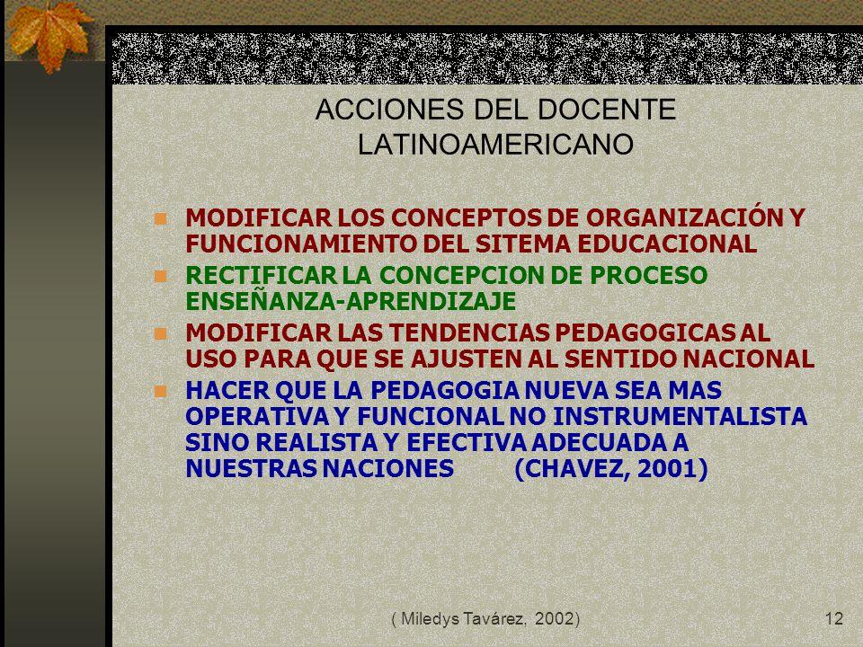 ( Miledys Tavárez, 2002)11 los profesores no son meramente consumidores de resultados de investigaciones realizadas por otras personas, sino que tambi