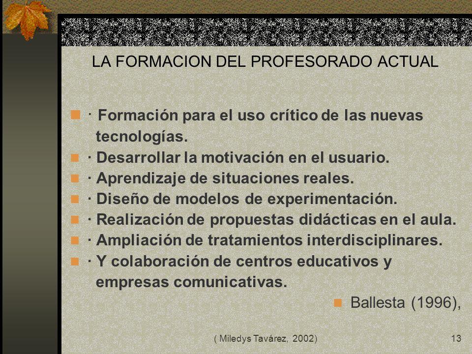 ( Miledys Tavárez, 2002)12 ACCIONES DEL DOCENTE LATINOAMERICANO MODIFICAR LOS CONCEPTOS DE ORGANIZACIÓN Y FUNCIONAMIENTO DEL SITEMA EDUCACIONAL RECTIF