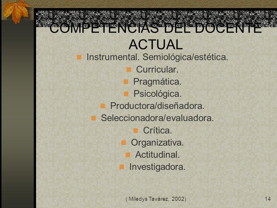 ( Miledys Tavárez, 2002)13 LA FORMACION DEL PROFESORADO ACTUAL · Formación para el uso crítico de las nuevas tecnologías. · Desarrollar la motivación