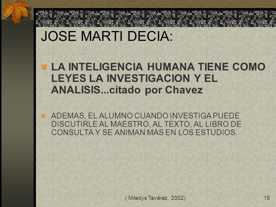 ( Miledys Tavárez, 2002)14 COMPETENCIAS DEL DOCENTE ACTUAL Instrumental. Semiológica/estética. Curricular. Pragmática. Psicológica. Productora/diseñad