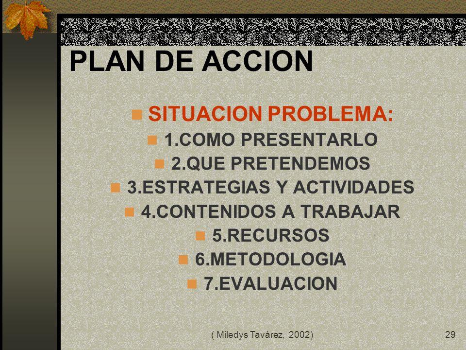 ( Miledys Tavárez, 2002)28 COMO LO HACE EL DOCENTE? 1.PLANIFICA 2.NEGOCIA 3. ORGANIZA 4. EJECUTAN 5. ORGANIZAN DATOS 6. CONCLUYEN 7. COMUNICAN