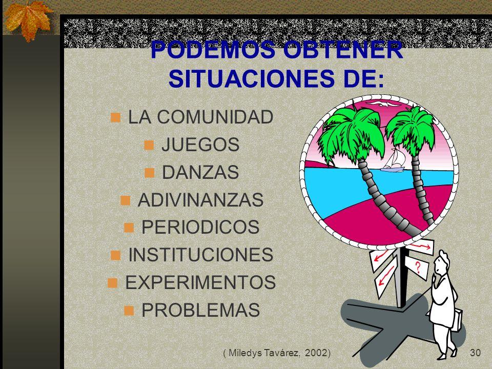 ( Miledys Tavárez, 2002)29 PLAN DE ACCION SITUACION PROBLEMA: 1.COMO PRESENTARLO 2.QUE PRETENDEMOS 3.ESTRATEGIAS Y ACTIVIDADES 4.CONTENIDOS A TRABAJAR