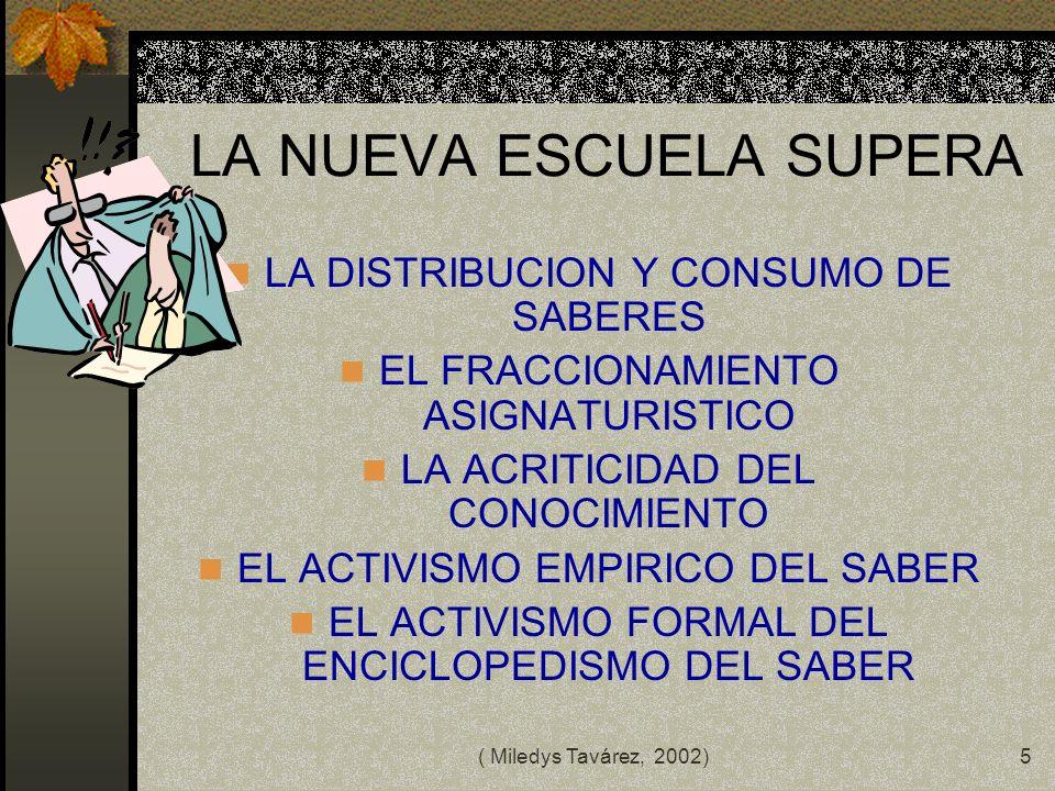 ( Miledys Tavárez, 2002)4 ANTE LA SITUACION ACTUAL EN MATERIA EDUCATIVA URGE UN CAMBIO Mucho esfuerzo agobio Muchas vías