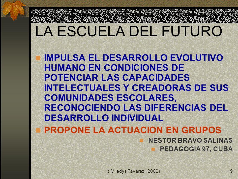 ( Miledys Tavárez, 2002)8 LA NUEVA ESCUELA PROPONE PLANIFICAR PARA LAS NUEVAS DEMANDAS DE FORMACION, APRENDIZAJE Y SOCIALIZACION TRAZAR PROGRAMAS INTE