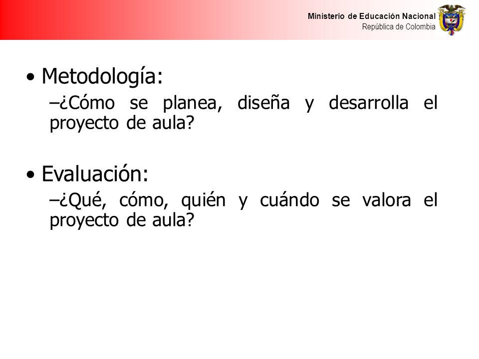 Ministerio de Educación Nacional República de Colombia Metodología: –¿Cómo se planea, diseña y desarrolla el proyecto de aula.