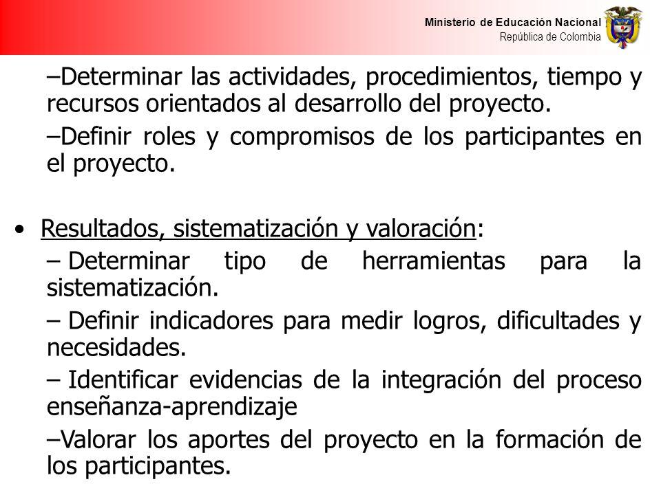 Ministerio de Educación Nacional República de Colombia –Determinar las actividades, procedimientos, tiempo y recursos orientados al desarrollo del proyecto.