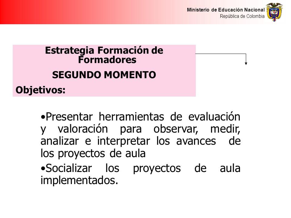 Ministerio de Educación Nacional República de Colombia Presentar herramientas de evaluación y valoración para observar, medir, analizar e interpretar los avances de los proyectos de aula Socializar los proyectos de aula implementados.
