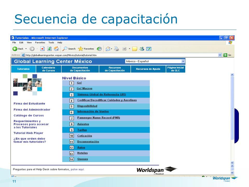 11 Secuencia de capacitación Clic en ¿En qué orden debo tomar mis tutoriales? Clic para seleccionar la secuencia de capacitación según el nivel en el
