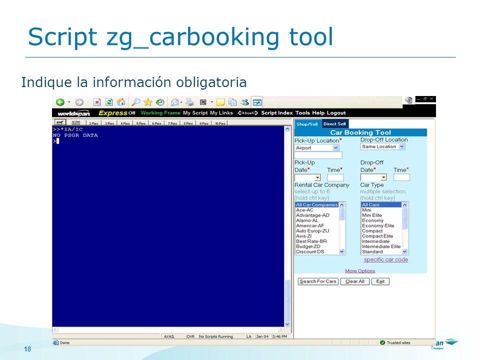 18 Indique la información obligatoria Script zg_carbooking tool