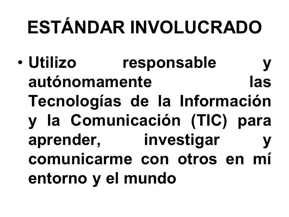 ESTÁNDAR INVOLUCRADO Utilizo responsable y autónomamente las Tecnologías de la Información y la Comunicación (TIC) para aprender, investigar y comunic