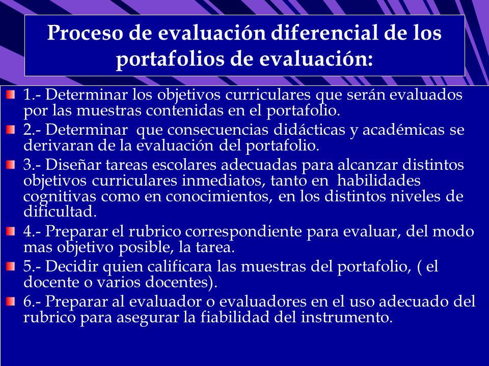Proceso de evaluación diferencial de los portafolios de evaluación: 1.- Determinar los objetivos curriculares que serán evaluados por las muestras con