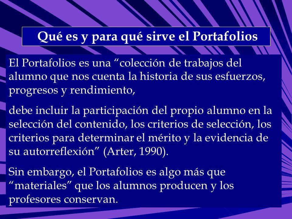 Qué es y para qué sirve el Portafolios El Portafolios es una colección de trabajos del alumno que nos cuenta la historia de sus esfuerzos, progresos y