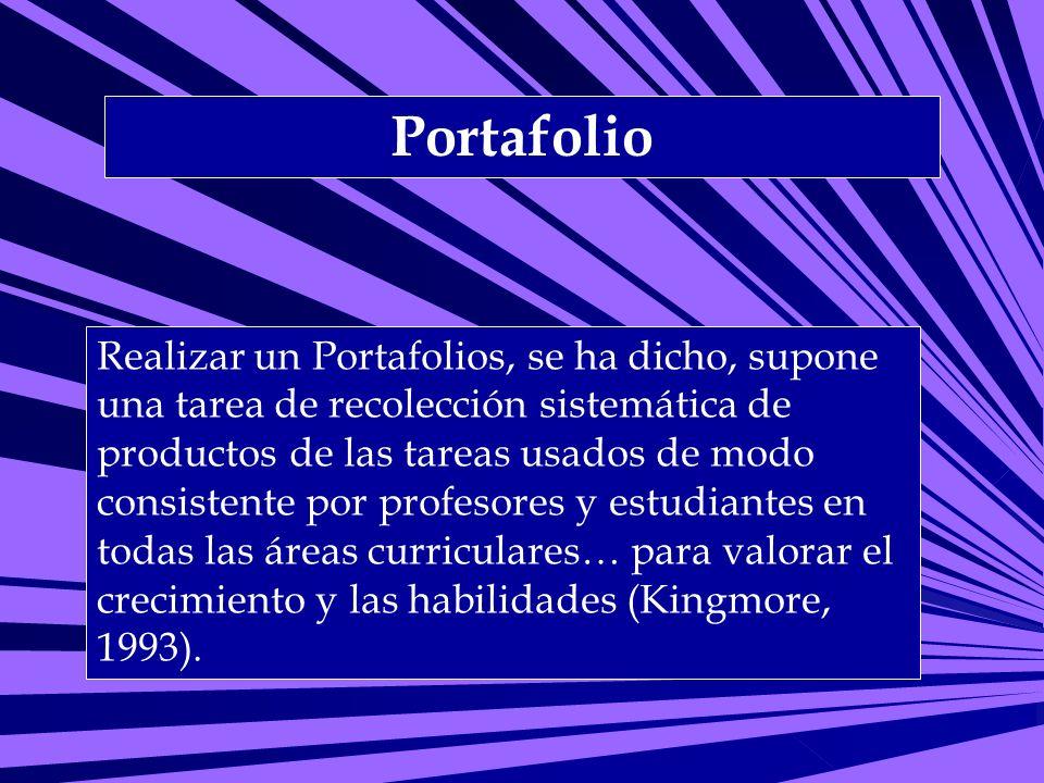 Portafolio Realizar un Portafolios, se ha dicho, supone una tarea de recolección sistemática de productos de las tareas usados de modo consistente por