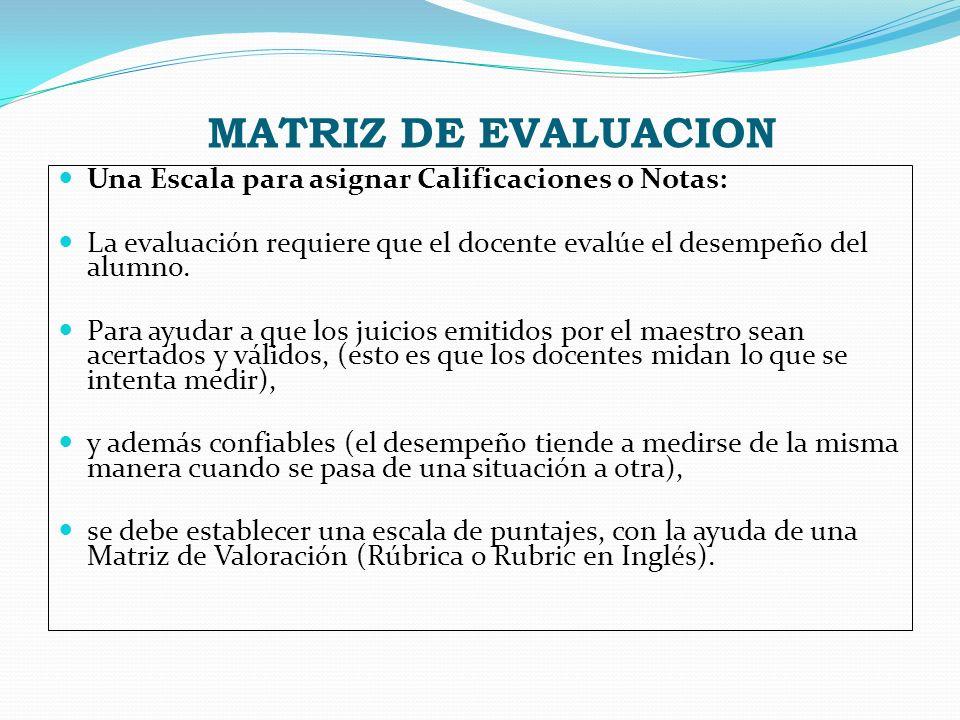 MATRIZ DE EVALUACION Una Escala para asignar Calificaciones o Notas: La evaluación requiere que el docente evalúe el desempeño del alumno. Para ayudar