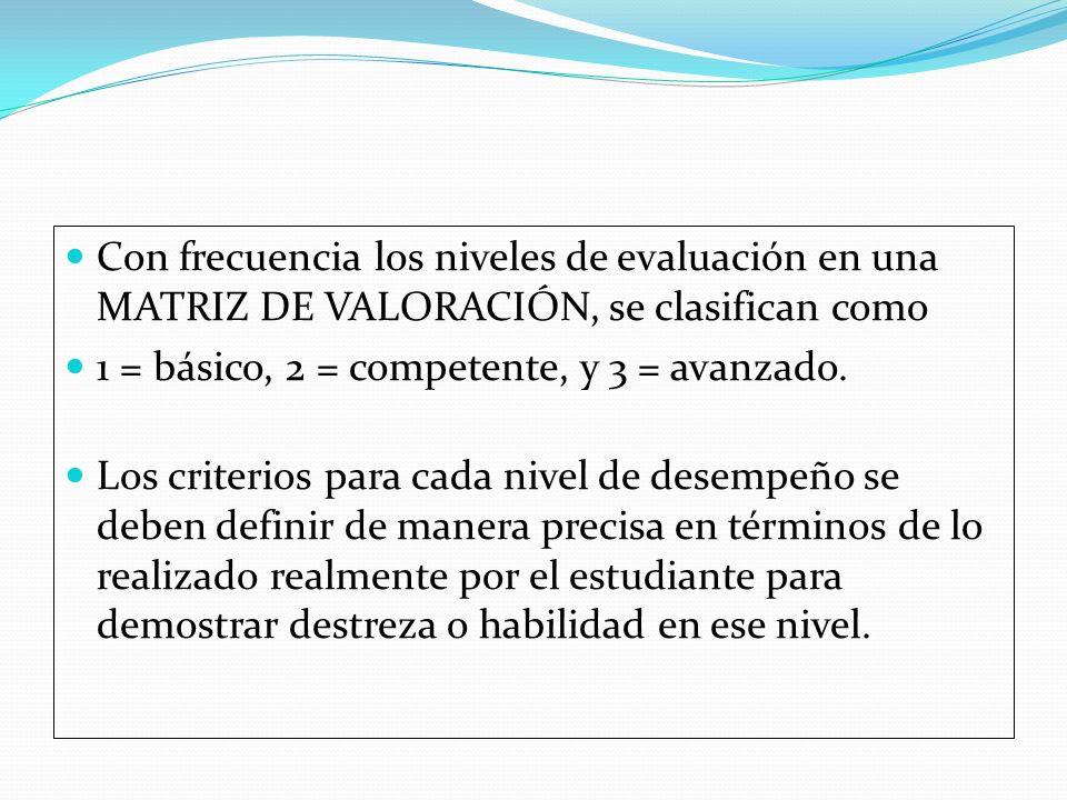 Con frecuencia los niveles de evaluación en una MATRIZ DE VALORACIÓN, se clasifican como 1 = básico, 2 = competente, y 3 = avanzado. Los criterios par