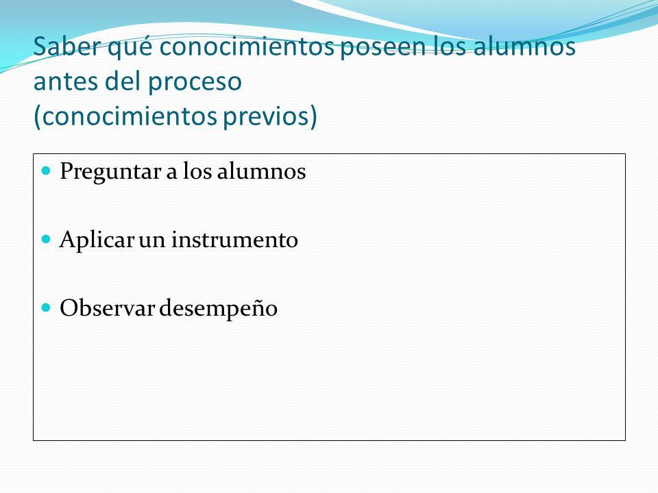 Saber qué conocimientos poseen los alumnos antes del proceso (conocimientos previos) Preguntar a los alumnos Aplicar un instrumento Observar desempeño