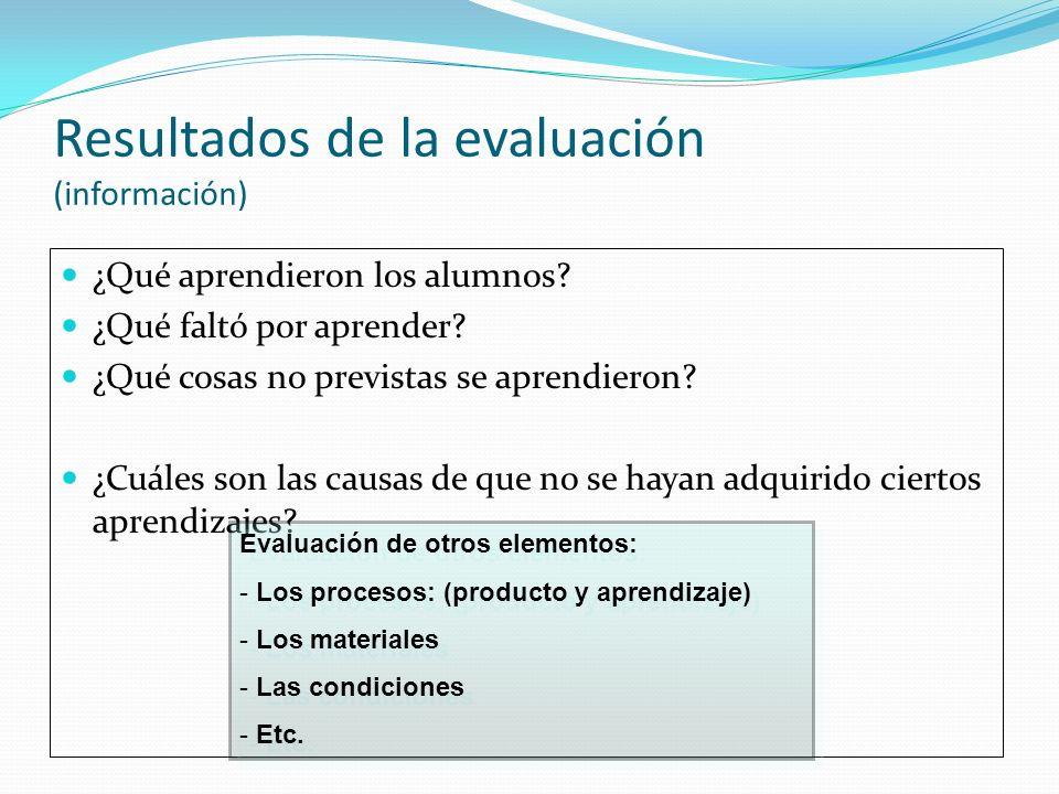 Resultados de la evaluación (información) ¿Qué aprendieron los alumnos? ¿Qué faltó por aprender? ¿Qué cosas no previstas se aprendieron? ¿Cuáles son l
