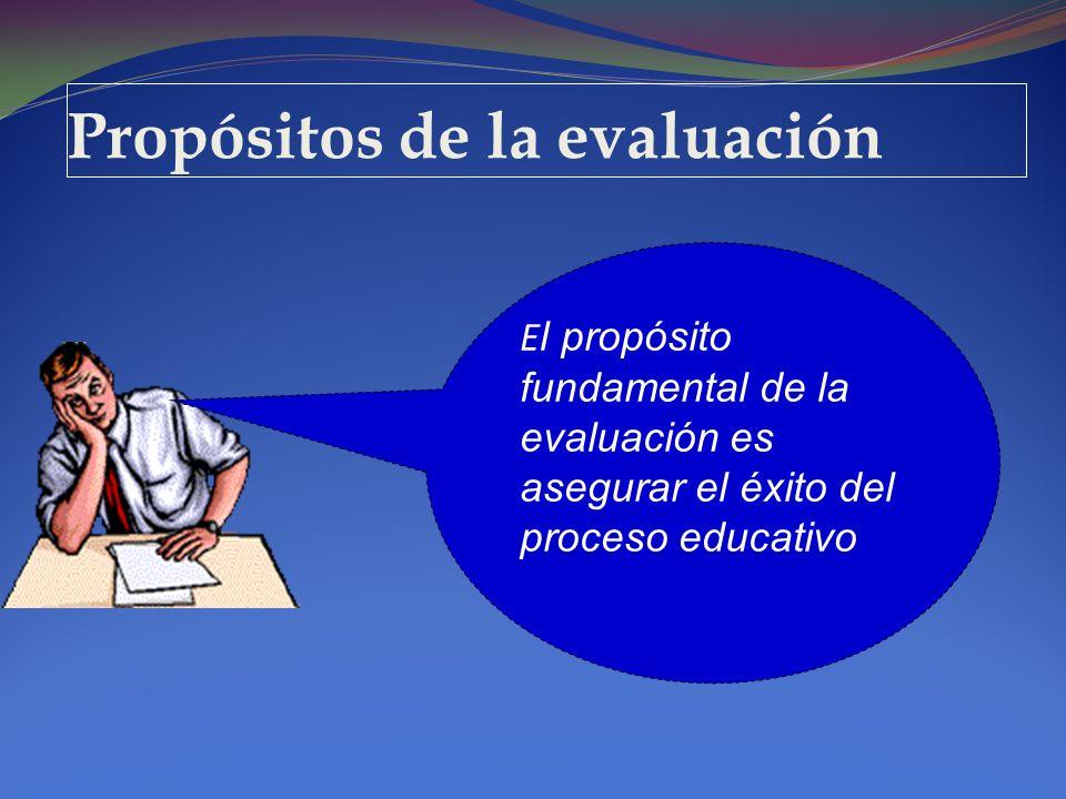 Propósitos de la evaluación E l propósito fundamental de la evaluación es asegurar el éxito del proceso educativo