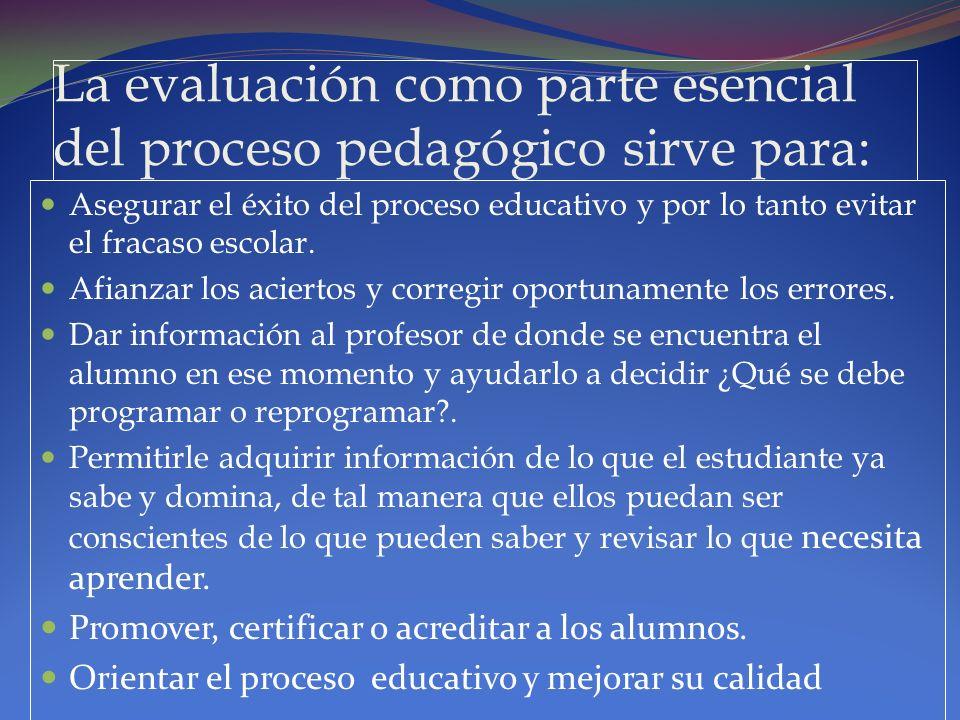La evaluación como parte esencial del proceso pedagógico sirve para: Asegurar el éxito del proceso educativo y por lo tanto evitar el fracaso escolar.