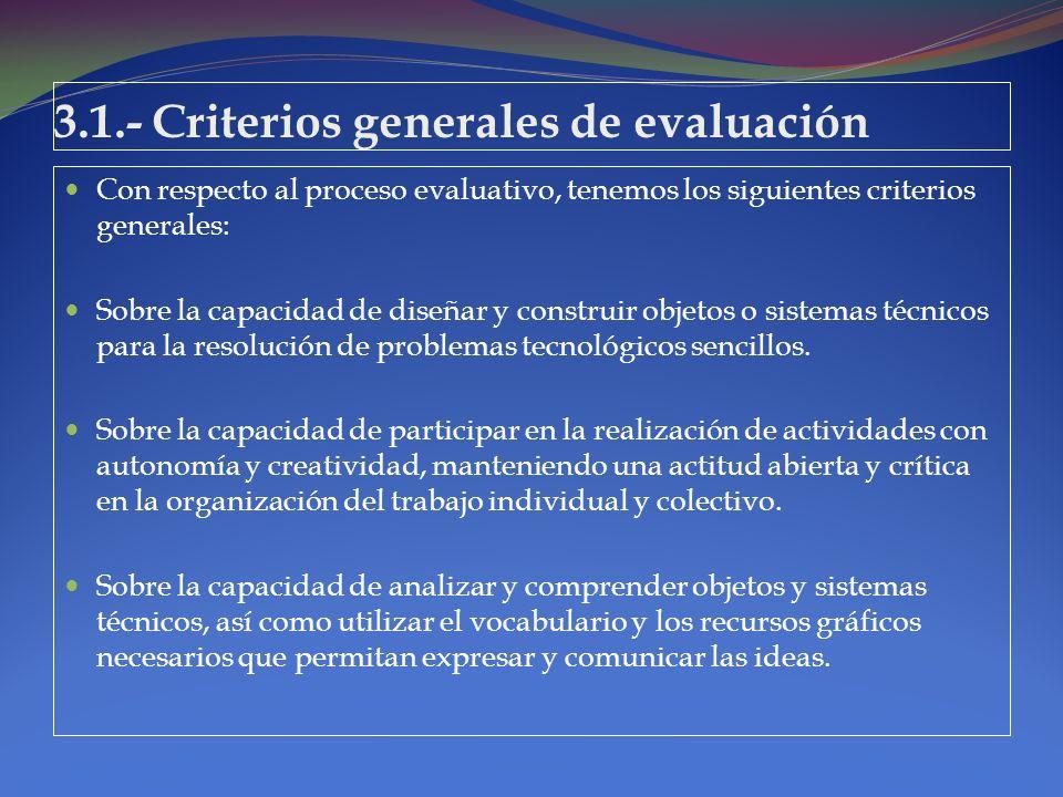 3.1.- Criterios generales de evaluación Con respecto al proceso evaluativo, tenemos los siguientes criterios generales: Sobre la capacidad de diseñar