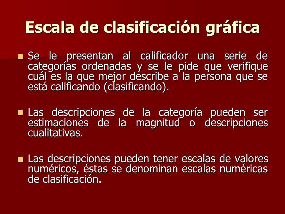 Escala de clasificación gráfica Se le presentan al calificador una serie de categorías ordenadas y se le pide que verifique cuál es la que mejor descr