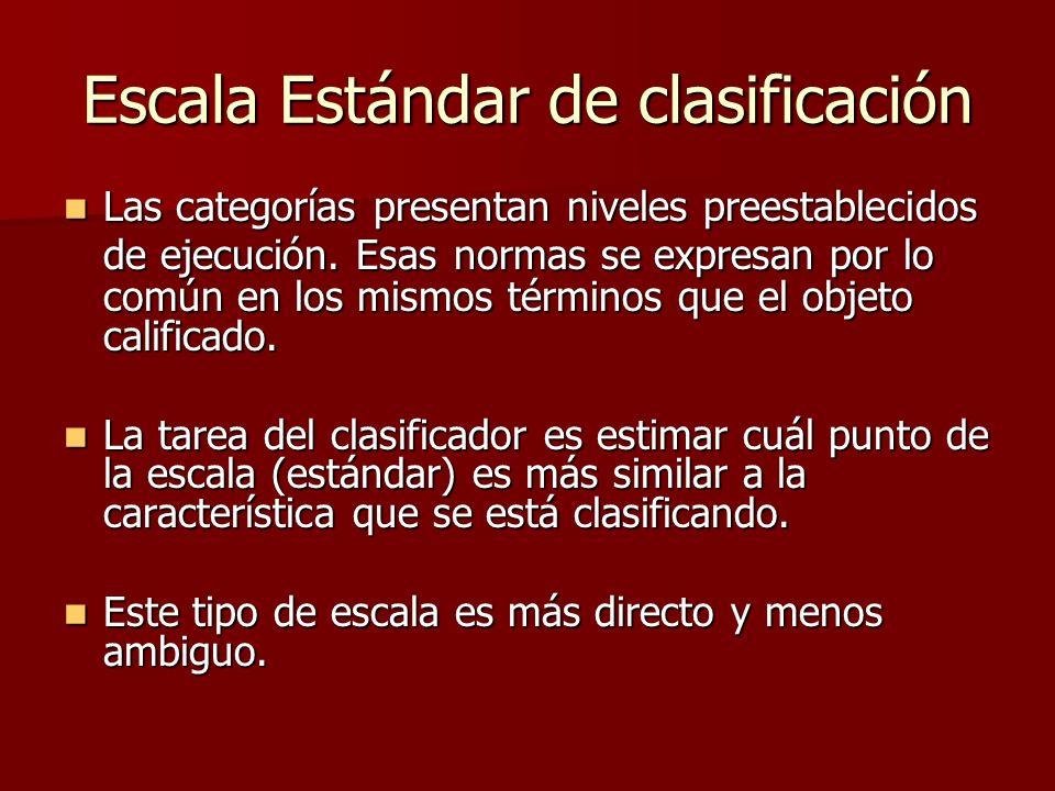 Escala Estándar de clasificación Las categorías presentan niveles preestablecidos de ejecución. Esas normas se expresan por lo común en los mismos tér