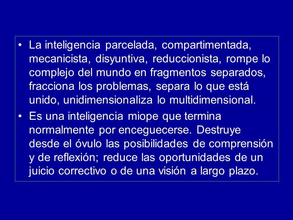 La inteligencia parcelada, compartimentada, mecanicista, disyuntiva, reduccionista, rompe lo complejo del mundo en fragmentos separados, fracciona los