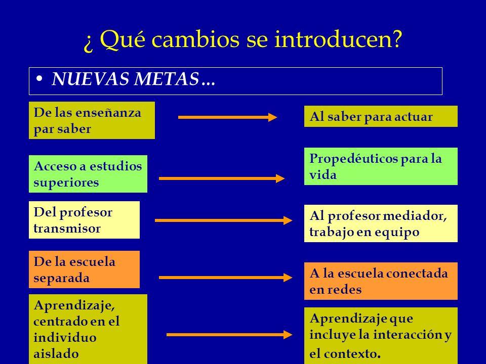 ¿ Qué cambios se introducen? NUEVAS METAS… De las enseñanza par saber Al saber para actuar Aprendizaje, centrado en el individuo aislado De la escuela