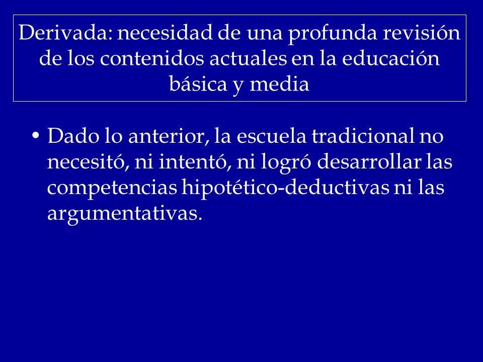 Derivada: necesidad de una profunda revisión de los contenidos actuales en la educación básica y media Dado lo anterior, la escuela tradicional no nec