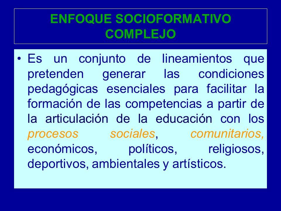 ENFOQUE SOCIOFORMATIVO COMPLEJO Es un conjunto de lineamientos que pretenden generar las condiciones pedagógicas esenciales para facilitar la formació