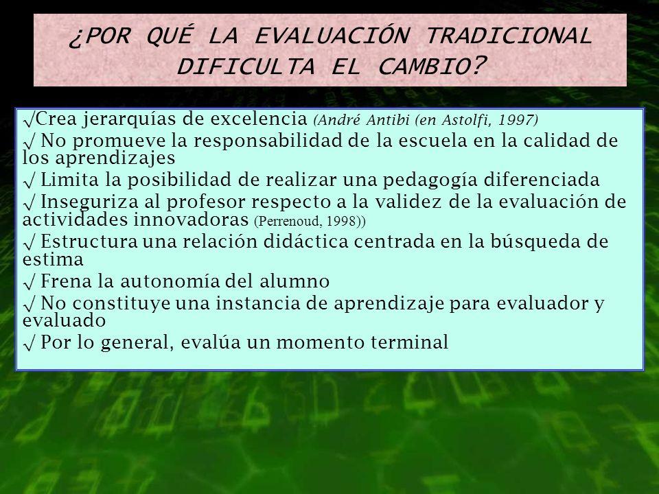 ¿POR QUÉ LA EVALUACIÓN TRADICIONAL DIFICULTA EL CAMBIO? Crea jerarquías de excelencia (André Antibi (en Astolfi, 1997) No promueve la responsabilidad