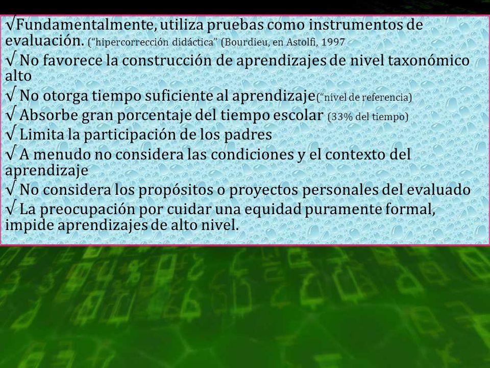Fundamentalmente, utiliza pruebas como instrumentos de evaluación. (hipercorrección didáctica (Bourdieu, en Astolfi, 1997 No favorece la construcción