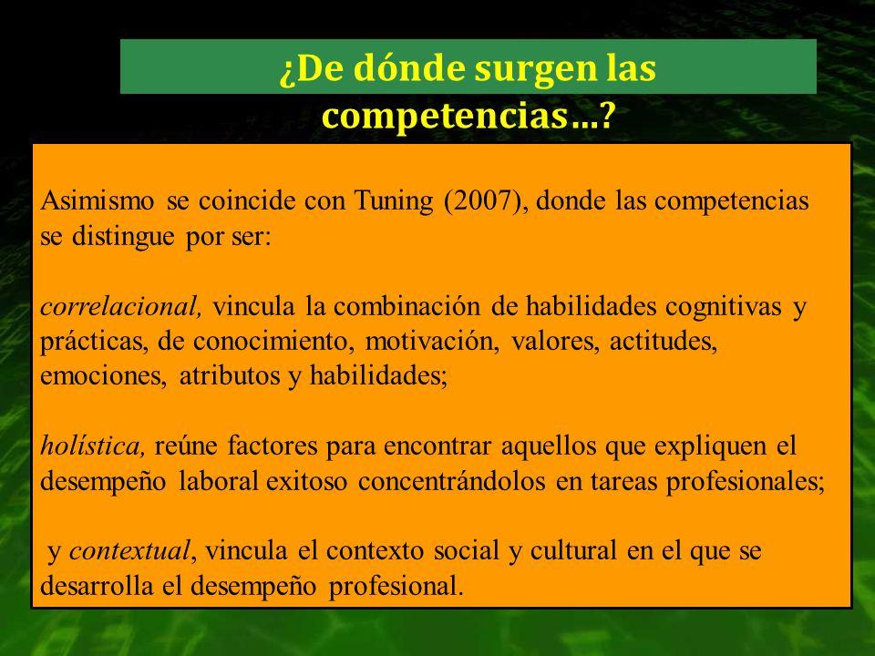 Asimismo se coincide con Tuning (2007), donde las competencias se distingue por ser: correlacional, vincula la combinación de habilidades cognitivas y