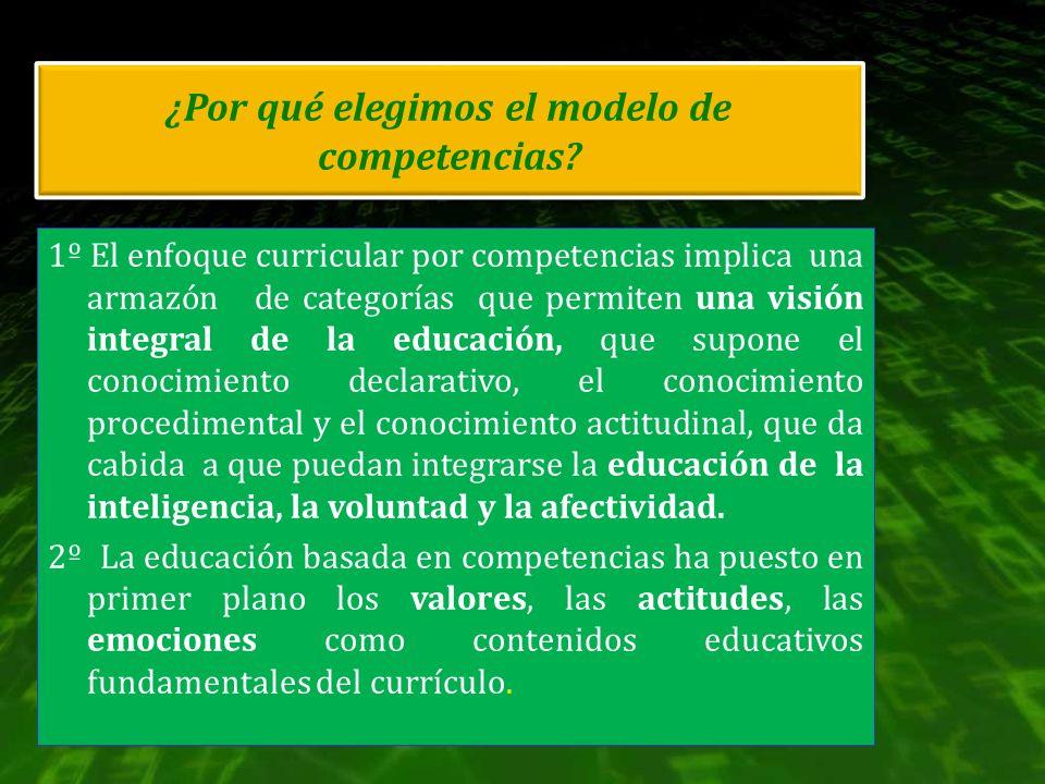 ¿Por qué elegimos el modelo de competencias? 1º El enfoque curricular por competencias implica una armazón de categorías que permiten una visión integ