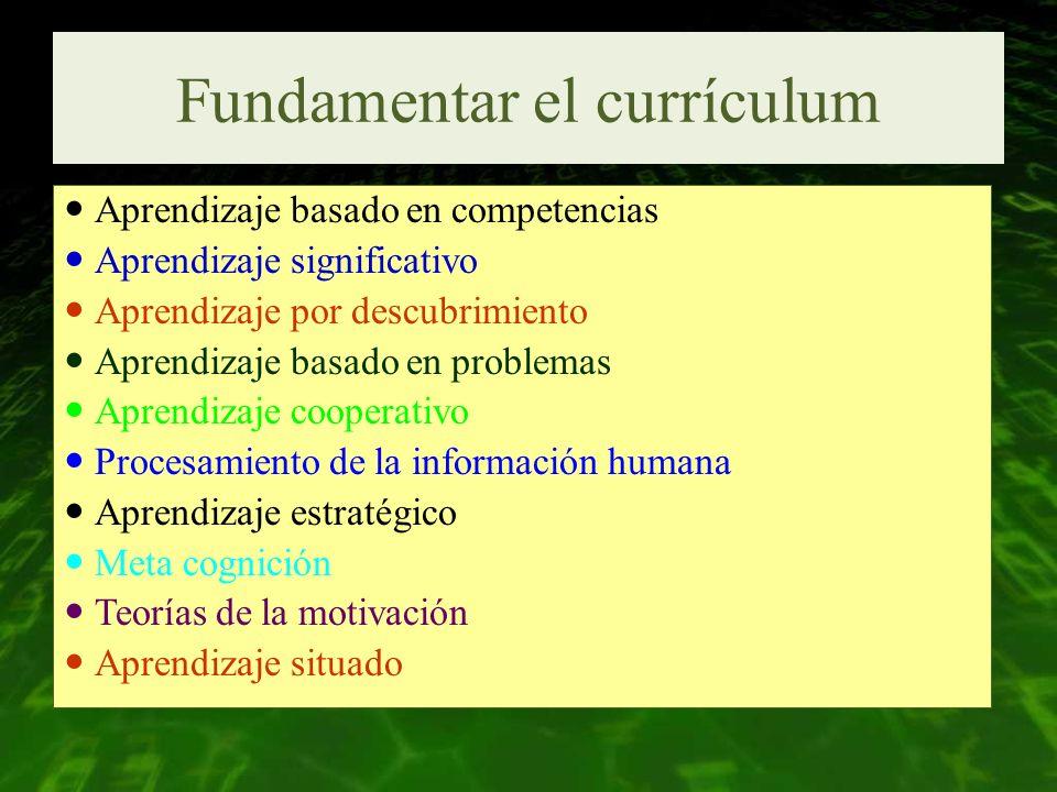 Fundamentar el currículum Aprendizaje basado en competencias Aprendizaje significativo Aprendizaje por descubrimiento Aprendizaje basado en problemas