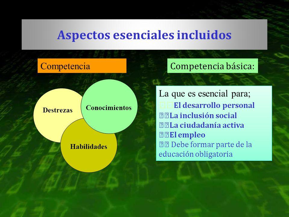 Aspectos esenciales incluidos Destrezas Habilidades Conocimientos Competencia Competencia básica: La que es esencial para; El desarrollo personal La i