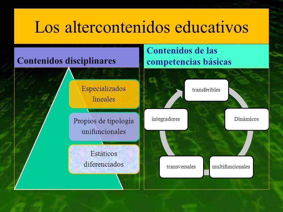 Los altercontenidos educativos Contenidos disciplinares Especializados lineales Propios de tipología unifuncionales Estáticos diferenciados Contenidos