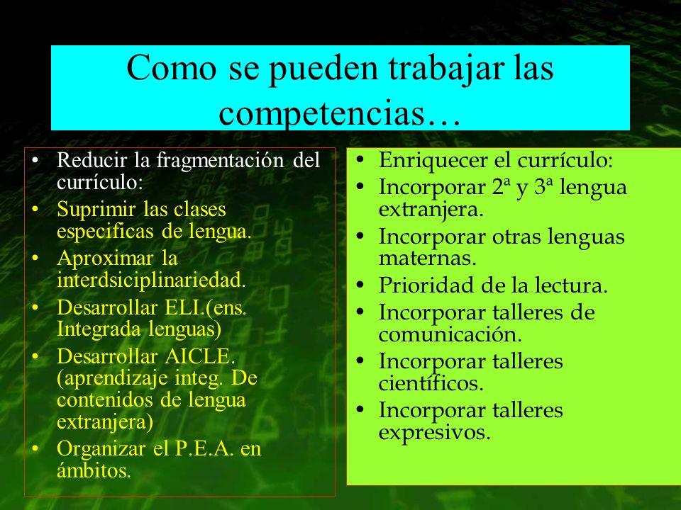Como se pueden trabajar las competencias… Reducir la fragmentación del currículo: Suprimir las clases especificas de lengua. Aproximar la interdsicipl