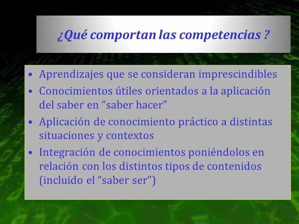 ¿Qué comportan las competencias ? Aprendizajes que se consideran imprescindibles Conocimientos útiles orientados a la aplicación del saber en saber ha