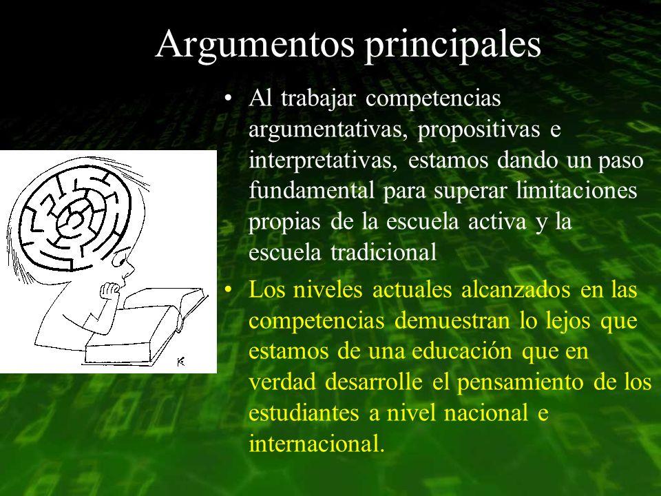 Argumentos principales Al trabajar competencias argumentativas, propositivas e interpretativas, estamos dando un paso fundamental para superar limitac