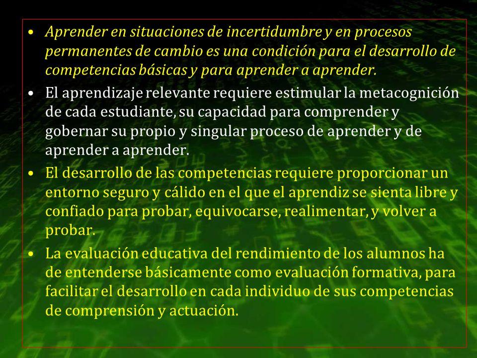 Aprender en situaciones de incertidumbre y en procesos permanentes de cambio es una condición para el desarrollo de competencias básicas y para aprend