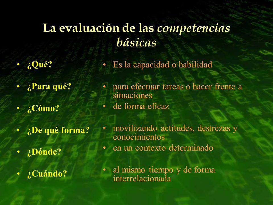 La evaluación de las competencias básicas ¿Qué? ¿Para qué? ¿Cómo? ¿De qué forma? ¿Dónde? ¿Cuándo? Es la capacidad o habilidad para efectuar tareas o h