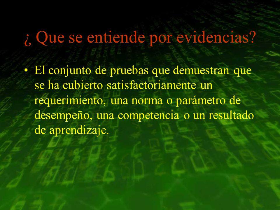 ¿ Que se entiende por evidencias? El conjunto de pruebas que demuestran que se ha cubierto satisfactoriamente un requerimiento, una norma o parámetro
