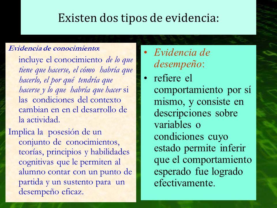 Existen dos tipos de evidencia: Evidencia de conocimiento: incluye el conocimiento de lo que tiene que hacerse, el cómo habría que hacerlo, el por qué